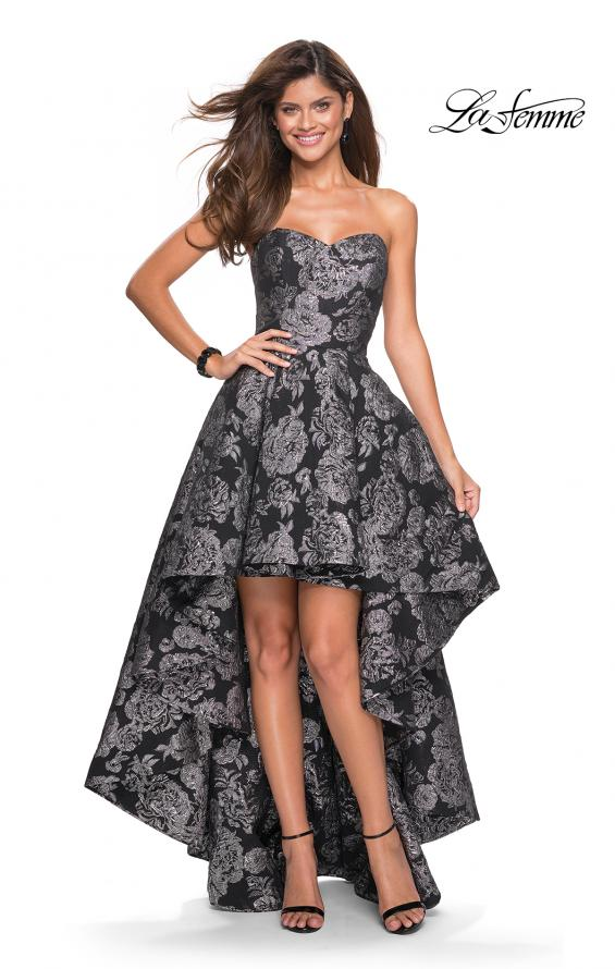 Picture of: Floral Print High-Low Strapless Prom Dress in Black Silver, Style: 27468, Main Picture