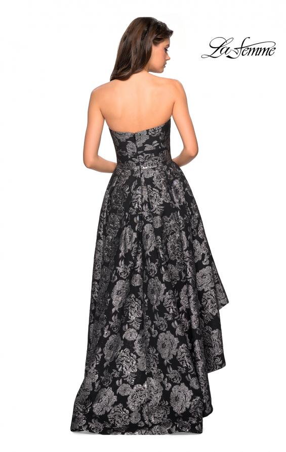 Picture of: Floral Print High-Low Strapless Prom Dress in Black Silver, Style: 27468, Back Picture