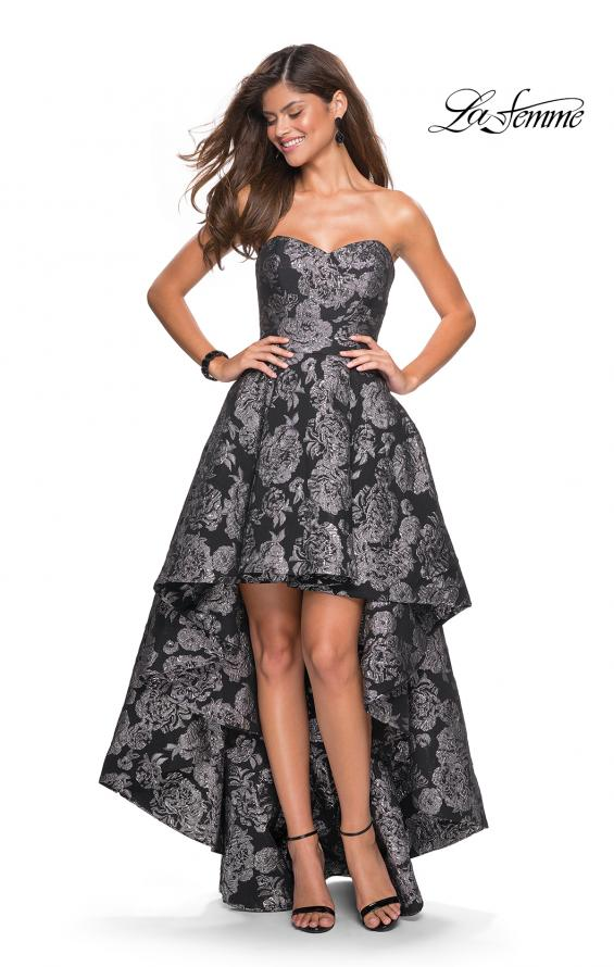 Picture of: Floral Print High-Low Strapless Prom Dress in Black Silver, Style: 27468, Detail Picture 1