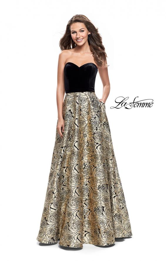 Picture of: Strapless Ball Gown with Velvet Bodice and Rose Print Skirt in Black Gold, Style: 25581, Main Picture