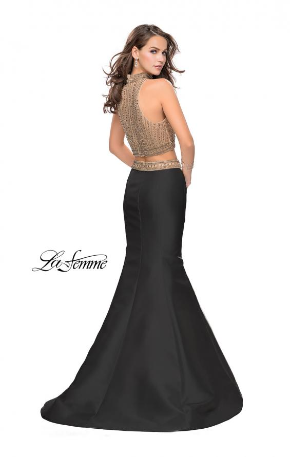 Picture of: Two Piece Mermaid Style Dress with Beading in Black Gold, Style: 25467, Back Picture
