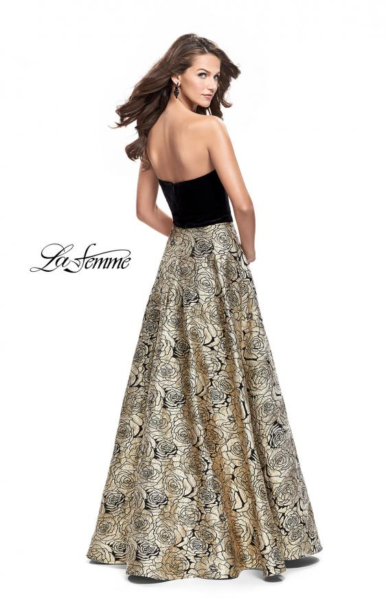 Picture of: Strapless Ball Gown with Velvet Bodice and Rose Print Skirt in Black Gold, Style: 25581, Back Picture