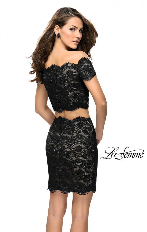 Picture of: Lace Two Piece Dress Set with Off the Shoulder Top in Black Nude, Style: 26666, Back Picture