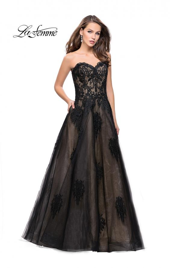 Picture of: Strapless Lace Gown with Tulle and Lace Applique in Black Nude, Style: 25560, Detail Picture 1