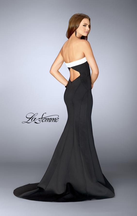 Picture of: Black and White Strapless Neoprene Dress in Black and White, Style: 24715, Back Picture