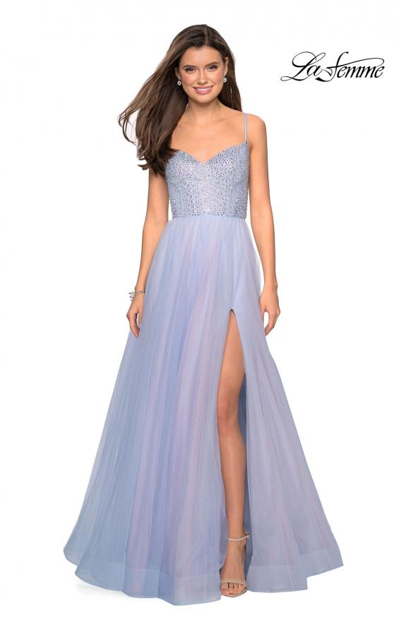 Picture of: Rhinestone Bodice Tulle Prom Dress with Cutout Back in Blue/Pink, Style: 27636, Main Picture