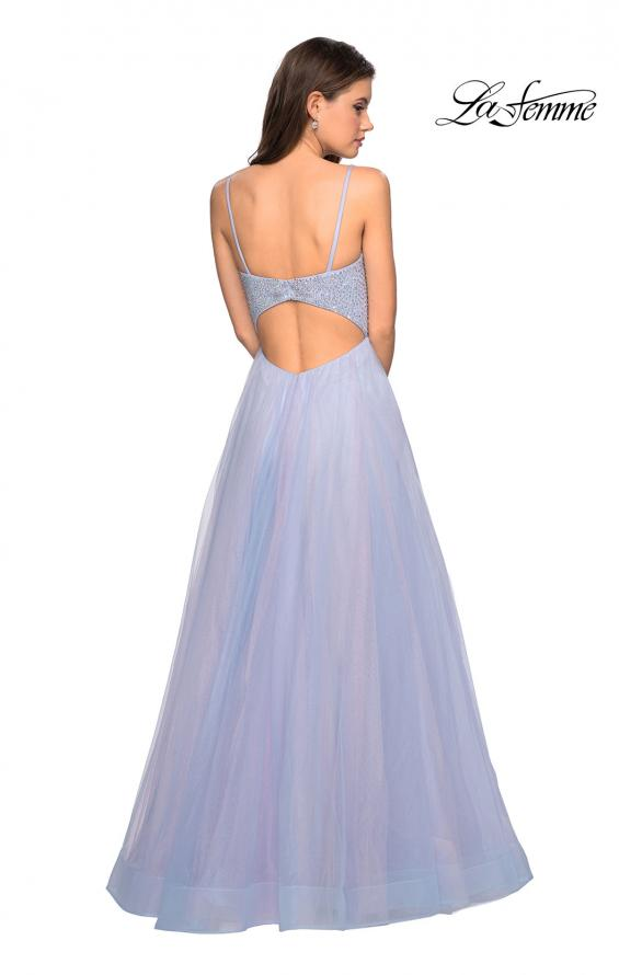 Picture of: Rhinestone Bodice Tulle Prom Dress with Cutout Back in Blue/Pink, Style: 27636, Back Picture