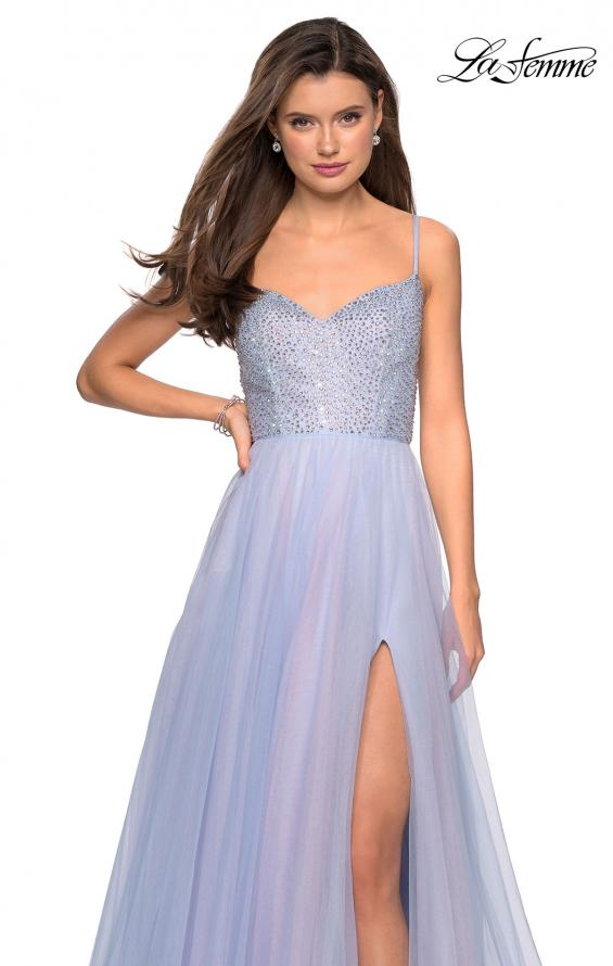Picture of: Rhinestone Bodice Tulle Prom Dress with Cutout Back in Blue/Pink, Style: 27636, Detail Picture 1