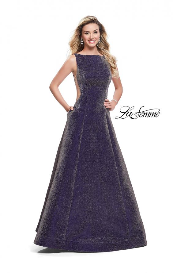 Picture of: Long Mikado Ball Gown with Boat Neckline and Pockets, Style: 26231, Detail Picture 1