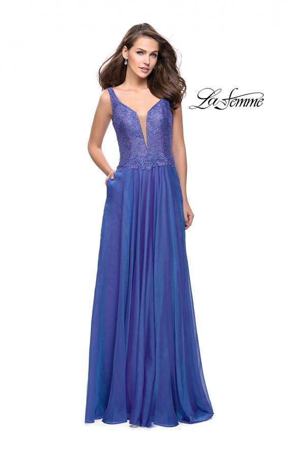 Picture of: Long Evening Gown with Chiffon Skirt and Scoop Open Back in Blue Violet, Style: 25513, Detail Picture 2