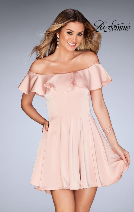 Picture of: A-line Short Satin Dress with Off the Shoulder Detail in Blush, Style: 25070, Detail Picture 1