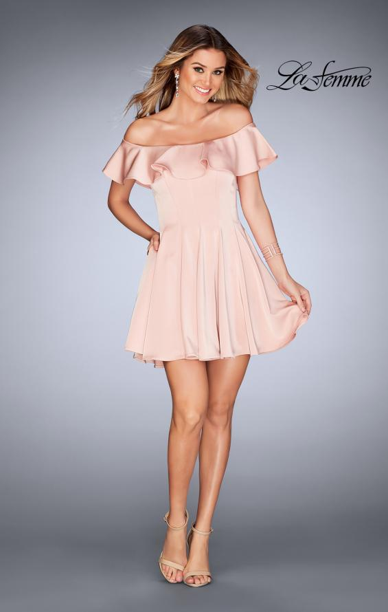 Picture of: A-line Short Satin Dress with Off the Shoulder Detail in Blush, Style: 25070, Detail Picture 4