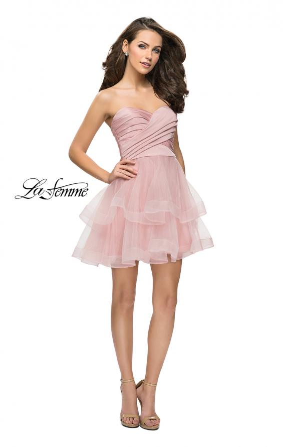 Picture of: Short Homecoming Dress with Tiered Tulle Skirt, Style: 26654, Detail Picture 5