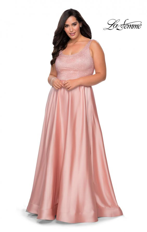 Picture of: Rhinestone Bodice Plus Size Prom Gown with Pockets in Blush, Style: 28879, Detail Picture 4