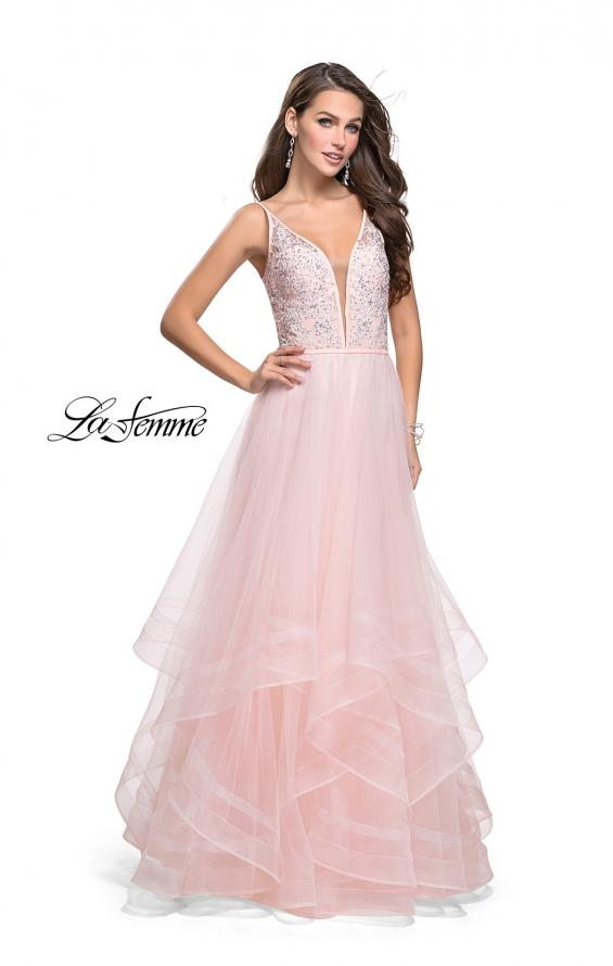 Picture of: Prom Dress with Tulle Skirt and Lace Beaded Bodice, Style: 25639, Main Picture