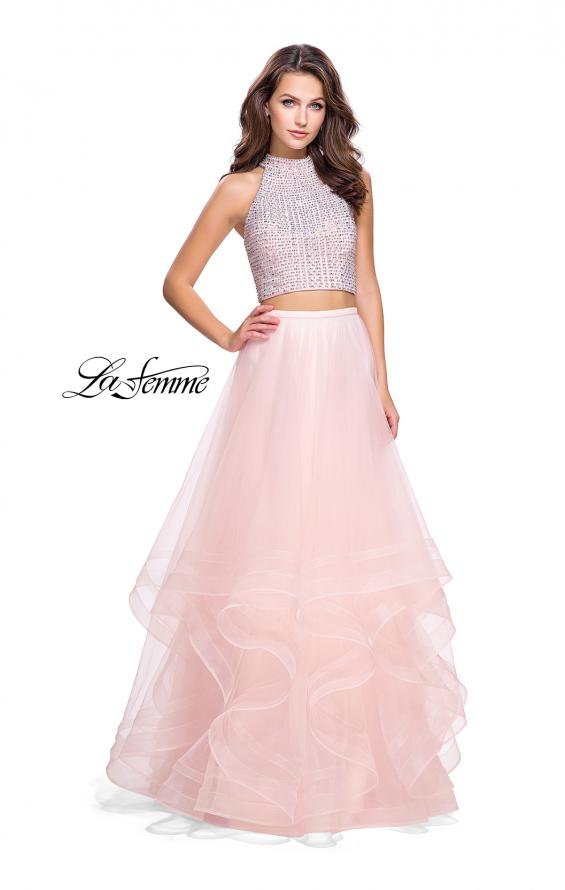 Picture of: Two Piece Prom Gown with Ruffle Tulle Skirt and Beading, Style: 26077, Main Picture