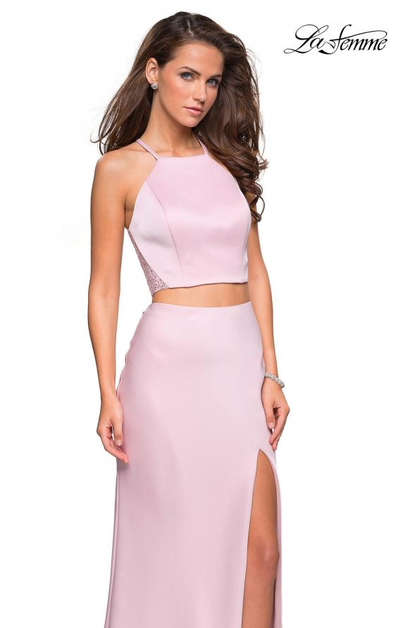 Picture of: Two Piece Racerback Prom Dress with Lace Detail in Blush, Style: 26926, Main Picture