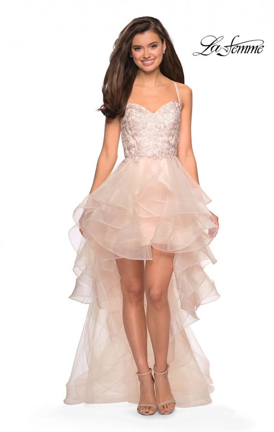 Picture of: High- Low Tulle Dress with Lace Bust and Strappy Back in Blush, Style: 27466, Main Picture