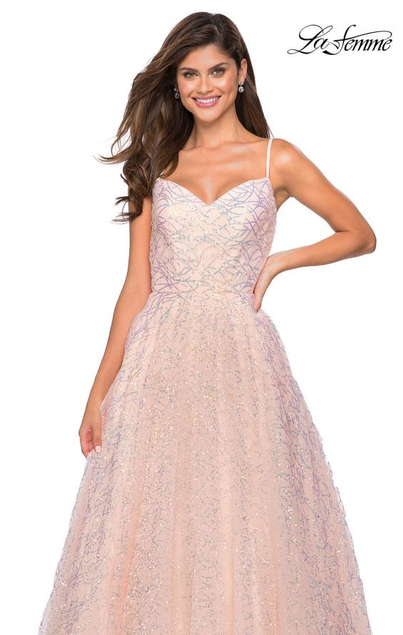 Picture of: Sweetheart Sequin Dress with Criss Cross Straps in Blush, Style: 27541, Main Picture