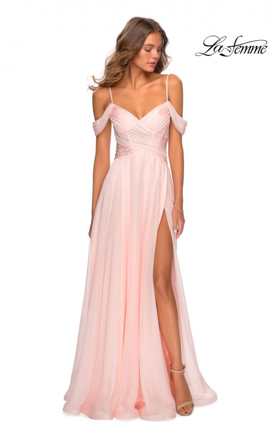 Picture of: Off the Shoulder Chiffon Dress with Scoop Back in Blush, Style: 28942, Main Picture