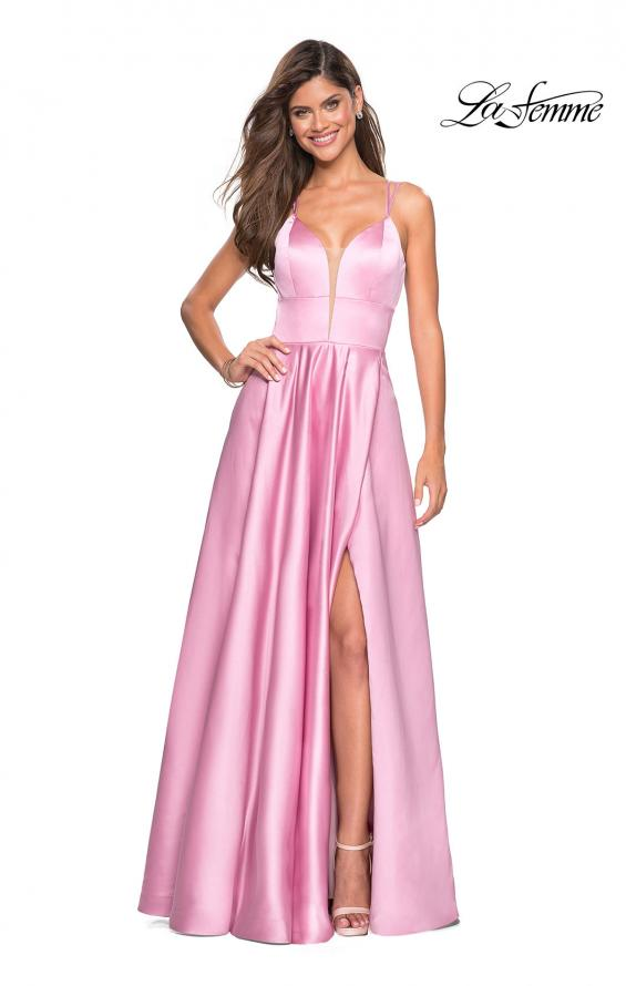 Picture of: Long Satin Formal Gown with Leg Slit and Strappy Back in Blush, Style: 26994, Detail Picture 8
