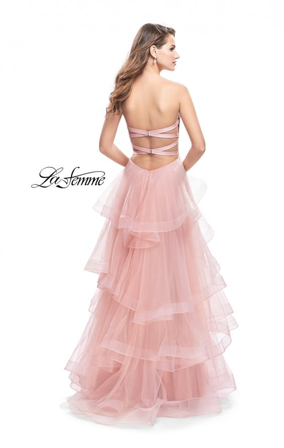 Picture of: Long Tulle Gown with Sweetheart Neckline in Blush, Style: 25430, Back Picture