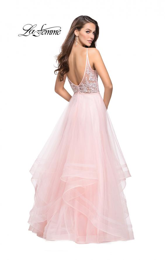 Picture of: Prom Dress with Tulle Skirt and Lace Beaded Bodice, Style: 25639, Back Picture