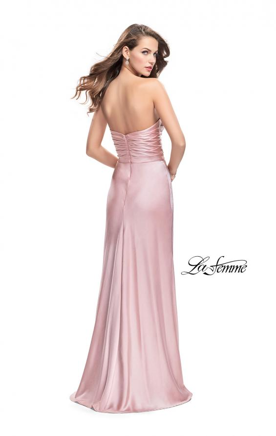 Picture of: Long Strapless Satin Prom Dress with Side Ruching, Style: 26017, Back Picture