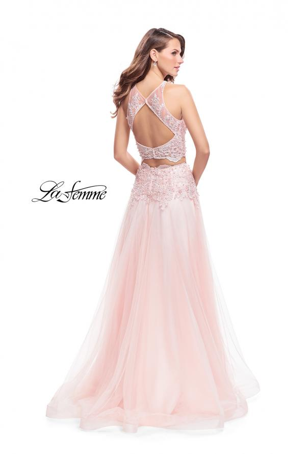 Picture of: Beaded and Lace Two Piece Dress With Tulle Skirt in Blush, Style: 26309, Back Picture
