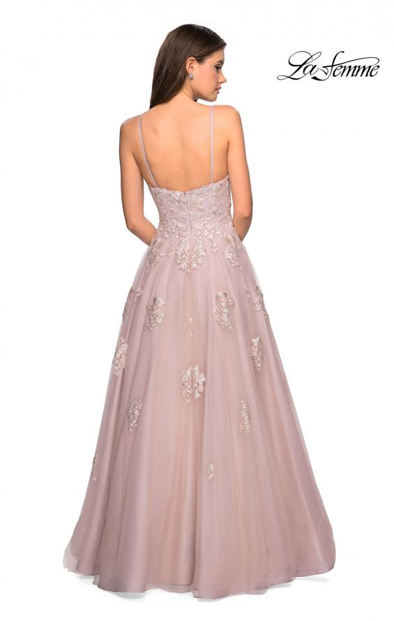 Picture of: A Line Lace Evening Dress with V Neckline, Style: 27320, Back Picture