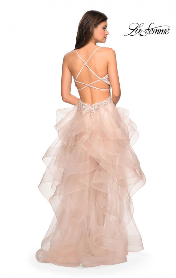 Picture of: High- Low Tulle Dress with Lace Bust and Strappy Back in Blush, Style: 27466, Back Picture