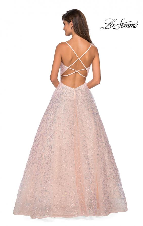 Picture of: Sweetheart Sequin Dress with Criss Cross Straps in Blush, Style: 27541, Back Picture