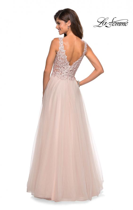 Picture of: Long Tulle Gown with Embellished Sheer Bodice, Style: 27574, Back Picture