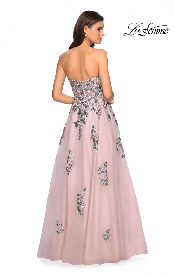 Picture of: Blush Ball Gown with Cascading Floral Appliques in Blush, Style: 27816, Back Picture