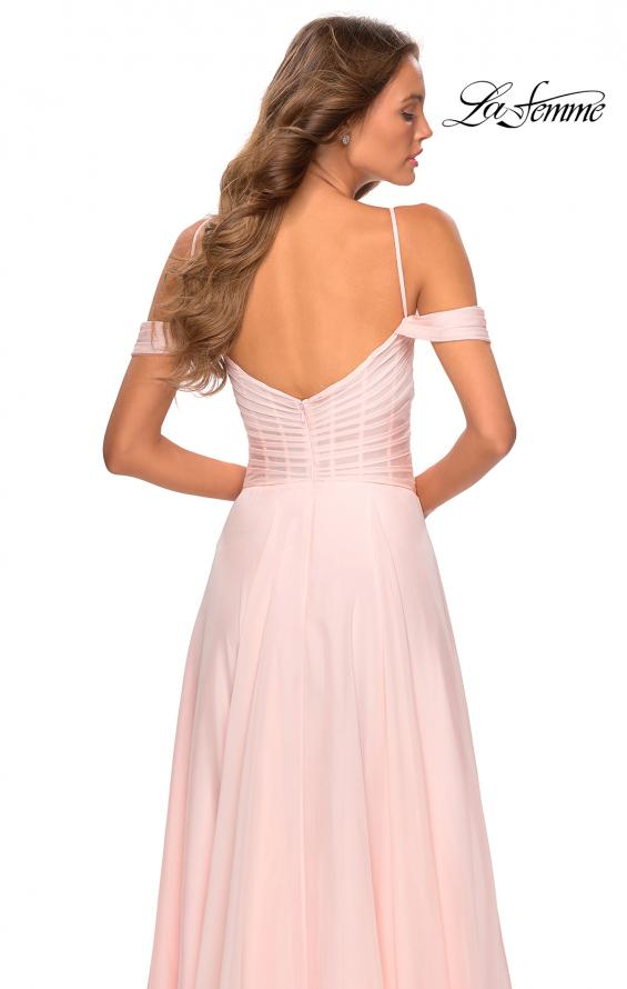 Picture of: Off the Shoulder Chiffon Dress with Scoop Back in Blush, Style: 28942, Back Picture