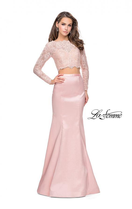 Picture of: Two Piece Mermaid Dress with Lace Top and Rhinestones in Blush, Style: 25324, Detail Picture 1