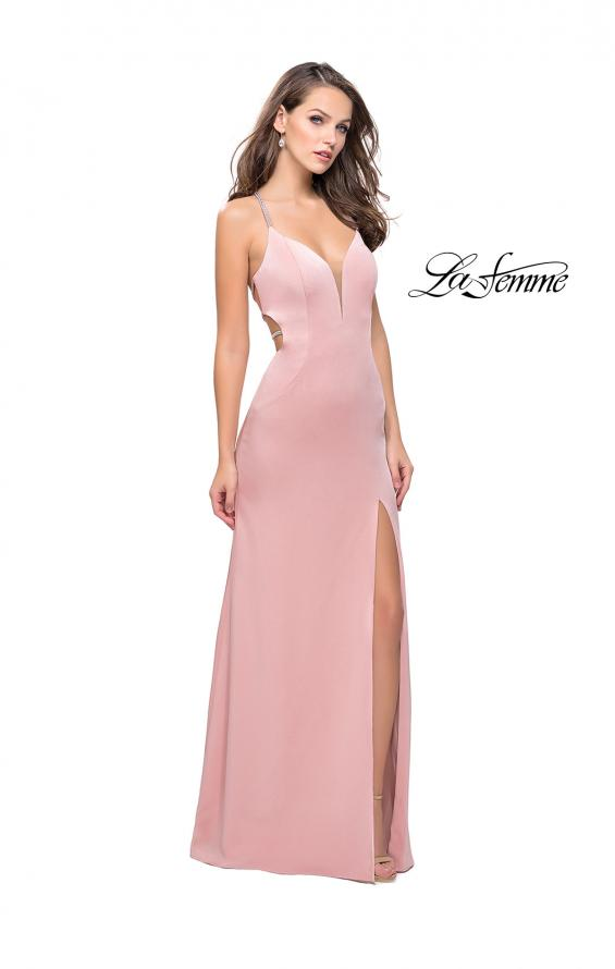 Picture of: Long Jersey Prom Dress with Plunging Neckline and Beading in Blush, Style: 25398, Detail Picture 1