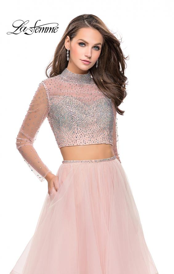 Picture of: Long Sleeve Two Piece Dress with Tulle Ruffle Skirt in Blush, Style: 25555, Detail Picture 1