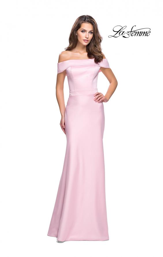 Picture of: Satin Off the Shoulder Dress with Trumpet Silhouette in Blush, Style: 25579, Detail Picture 1