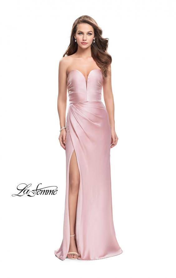 Picture of: Long Strapless Satin Prom Dress with Side Ruching, Style: 26017, Detail Picture 1