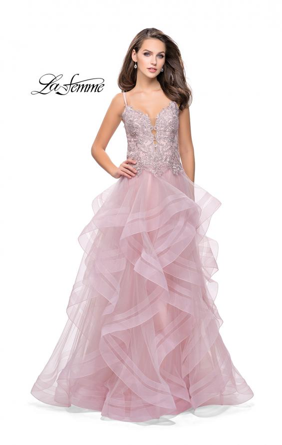 Picture of: Ball Gown with Tulle Skirt and Beaded Lace Bodice in Blush, Style: 26148, Detail Picture 1