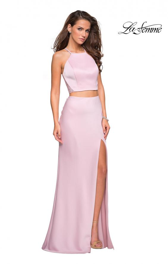 Picture of: Two Piece Racerback Prom Dress with Lace Detail in Blush, Style: 26926, Detail Picture 1
