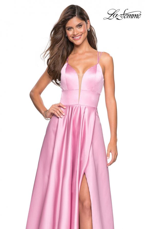 Picture of: Long Satin Formal Gown with Leg Slit and Strappy Back in Blush, Style: 26994, Detail Picture 1