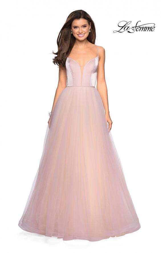 Picture of: Tulle evening Gown with Satin Bust and V Shaped Back in Blush, Style: 27485, Detail Picture 1