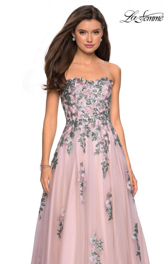 Picture of: Blush Ball Gown with Cascading Floral Appliques in Blush, Style: 27816, Detail Picture 1