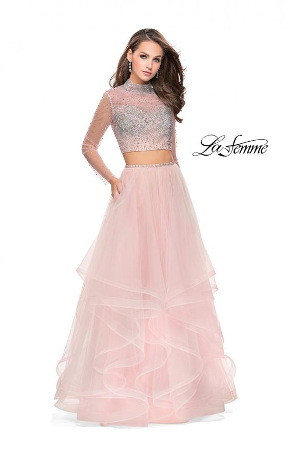 Picture of: Long Sleeve Two Piece Dress with Tulle Ruffle Skirt in Blush, Style: 25555, Detail Picture 2
