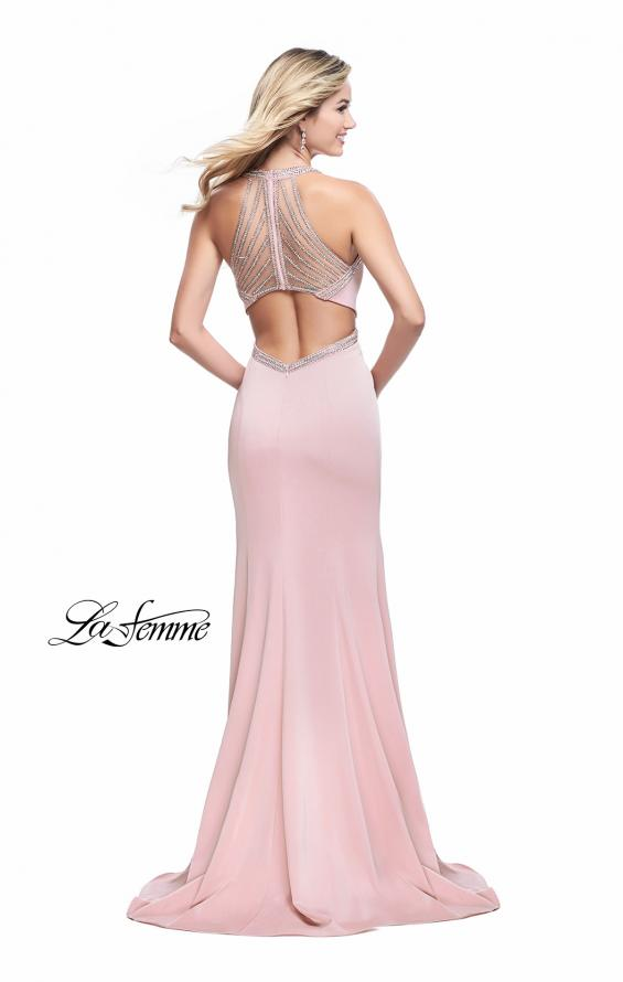 Picture of: Long Jersey Prom Dress with High Neck and Cut Outs, Style: 26069, Detail Picture 2