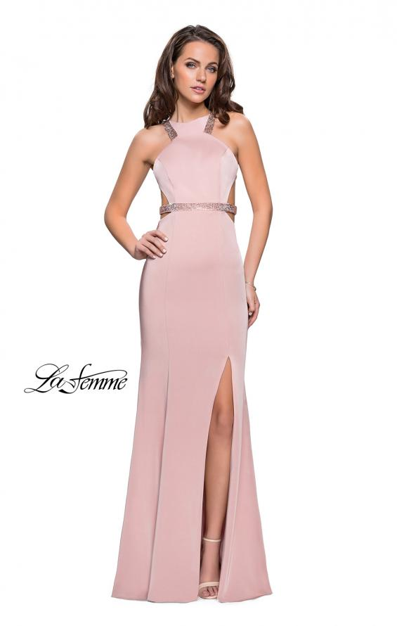 Picture of: Beaded Form Fitting Long Prom Dress with Leg Slit in Blush, Style: 26129, Detail Picture 2