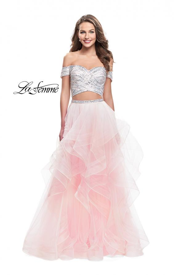 Picture of: Off the Shoulder A-line Gown with Ruffle Tulle Skirt in Blush, Style: 26169, Detail Picture 2