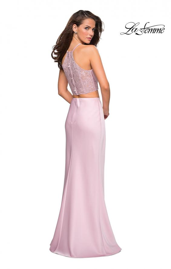 Picture of: Two Piece Racerback Prom Dress with Lace Detail in Blush, Style: 26926, Detail Picture 2